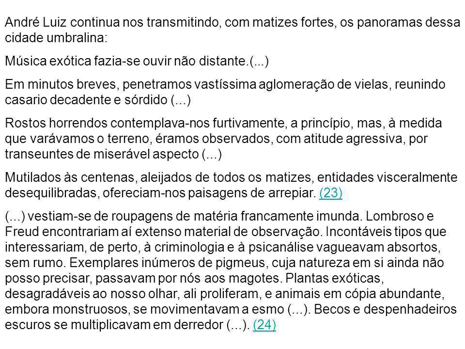 André Luiz continua nos transmitindo, com matizes fortes, os panoramas dessa cidade umbralina: