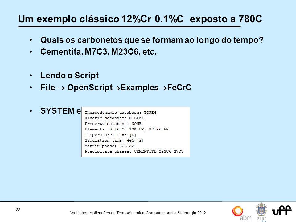 Um exemplo clássico 12%Cr 0.1%C exposto a 780C
