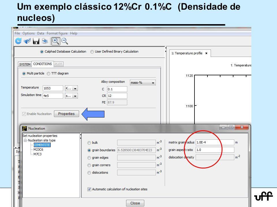 Um exemplo clássico 12%Cr 0.1%C (Densidade de nucleos)
