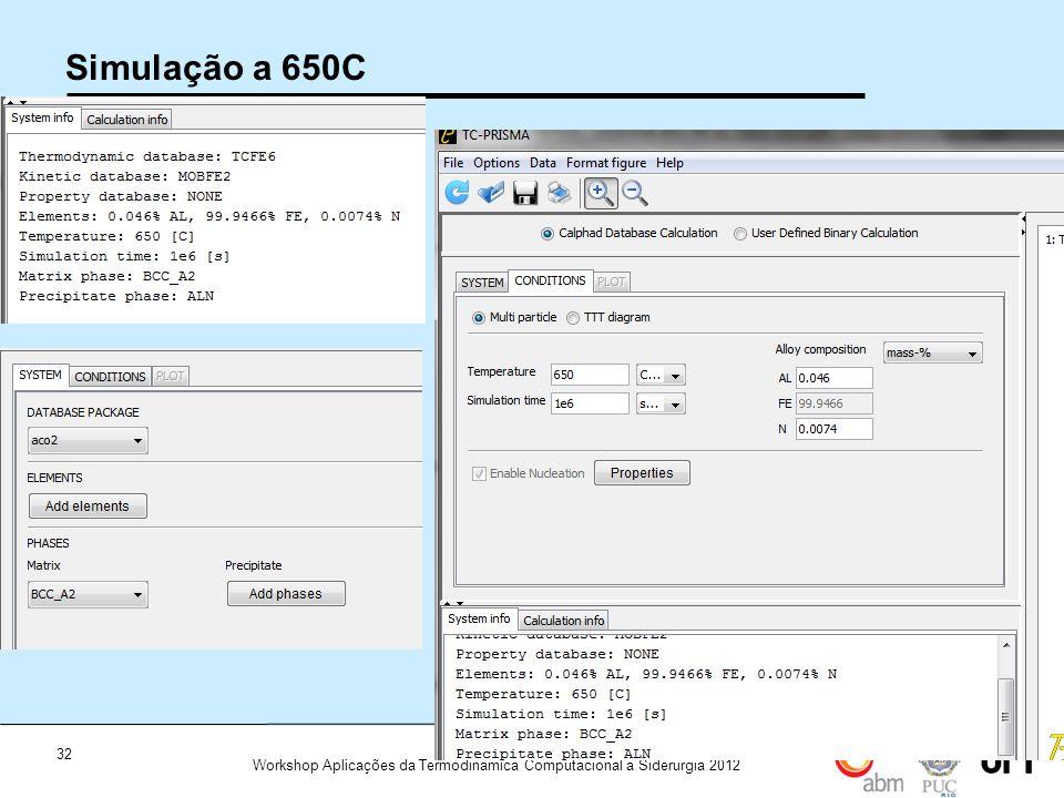 Simulação a 650C