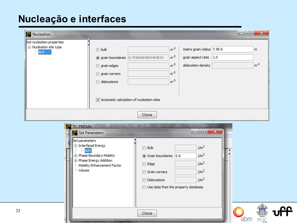 Nucleação e interfaces