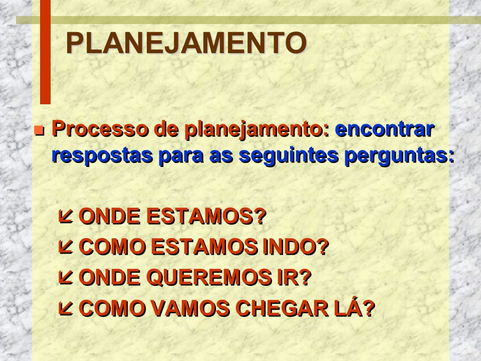 PLANEJAMENTO Processo de planejamento: encontrar respostas para as seguintes perguntas: ONDE ESTAMOS