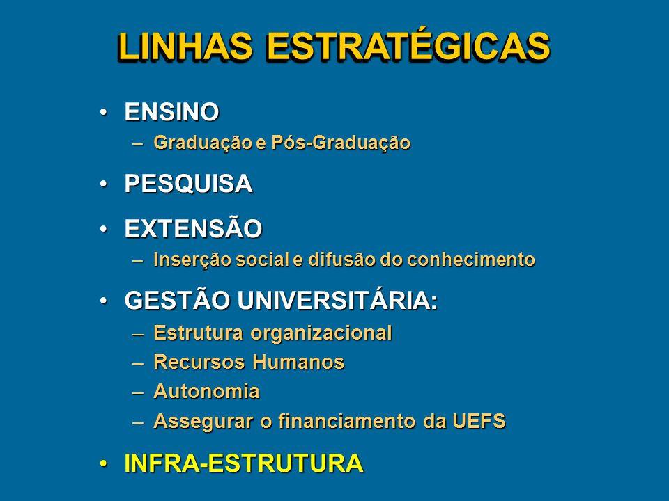 LINHAS ESTRATÉGICAS ENSINO PESQUISA EXTENSÃO GESTÃO UNIVERSITÁRIA: