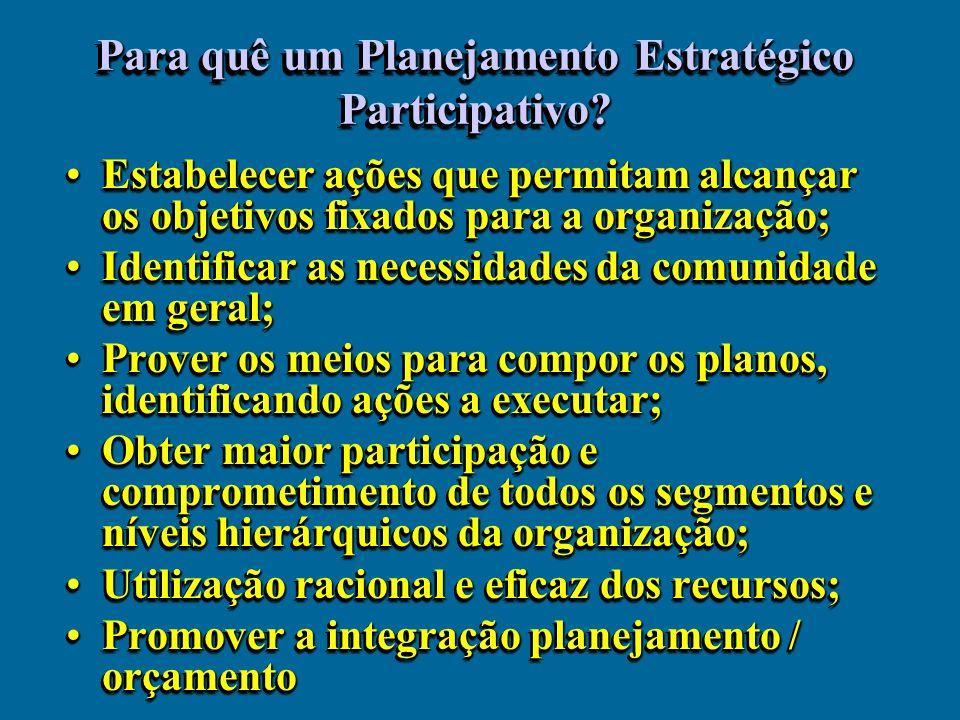 Para quê um Planejamento Estratégico Participativo