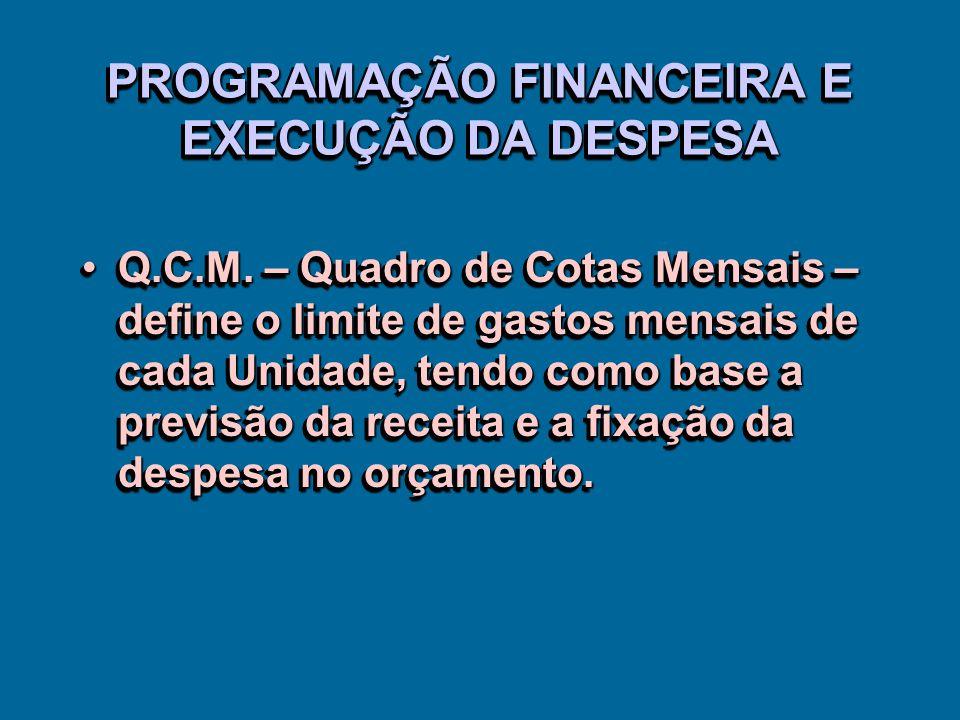 PROGRAMAÇÃO FINANCEIRA E EXECUÇÃO DA DESPESA