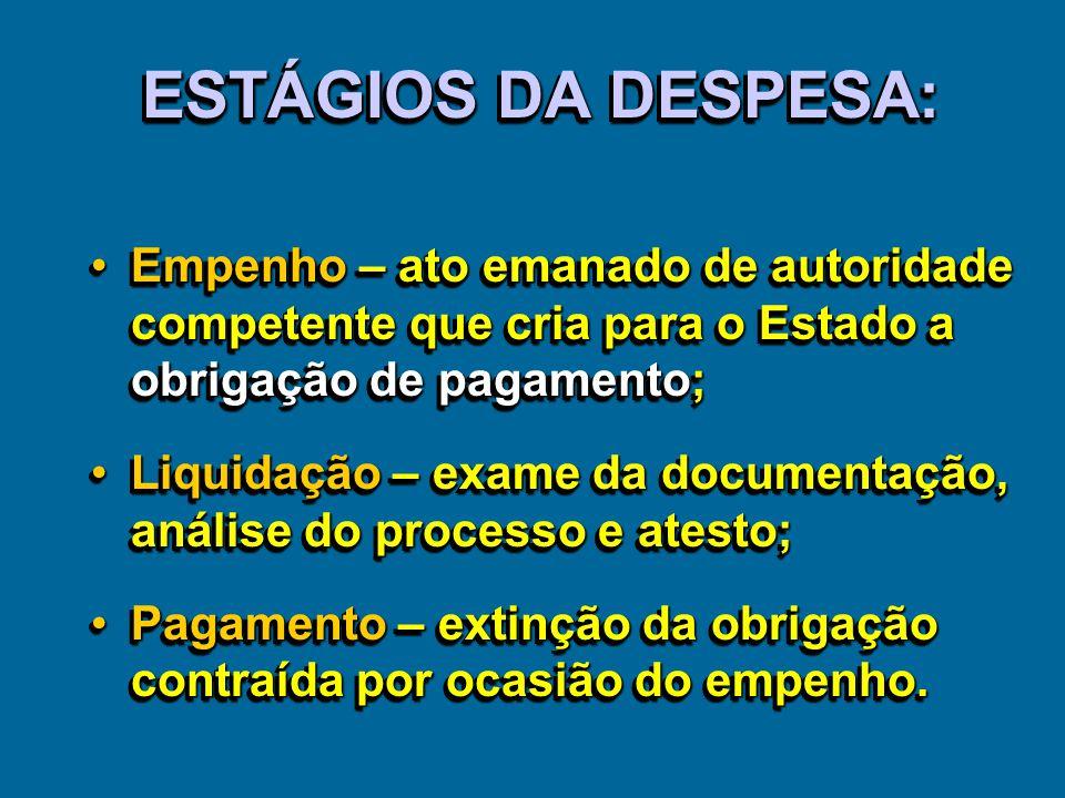 ESTÁGIOS DA DESPESA: Empenho – ato emanado de autoridade competente que cria para o Estado a obrigação de pagamento;