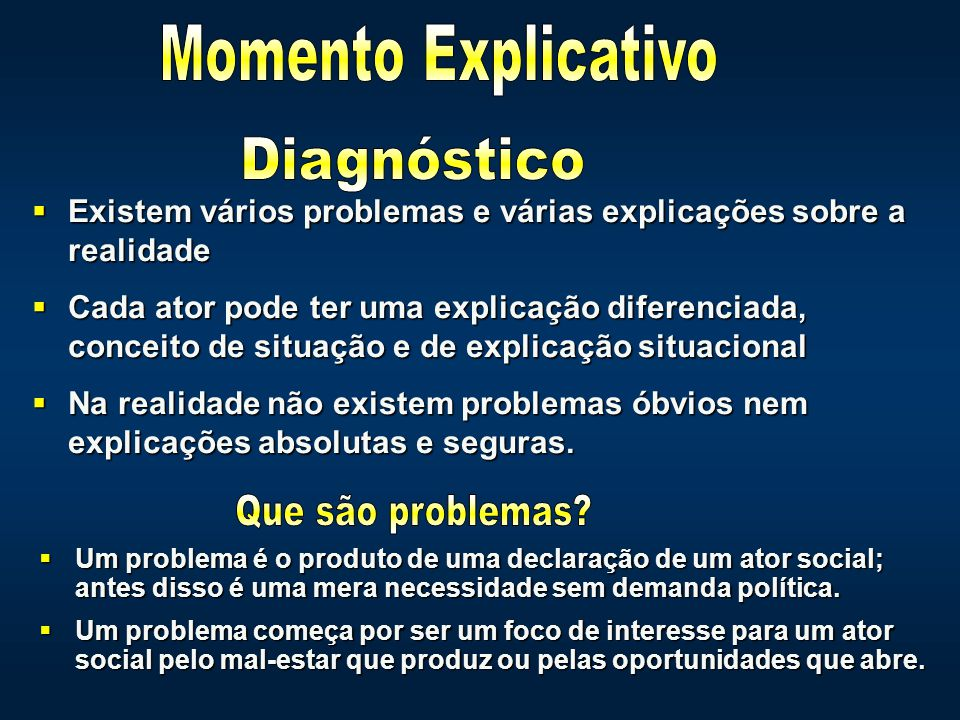 Momento Explicativo Diagnóstico Que são problemas