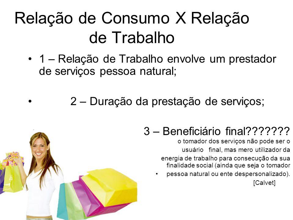 Relação de Consumo X Relação de Trabalho