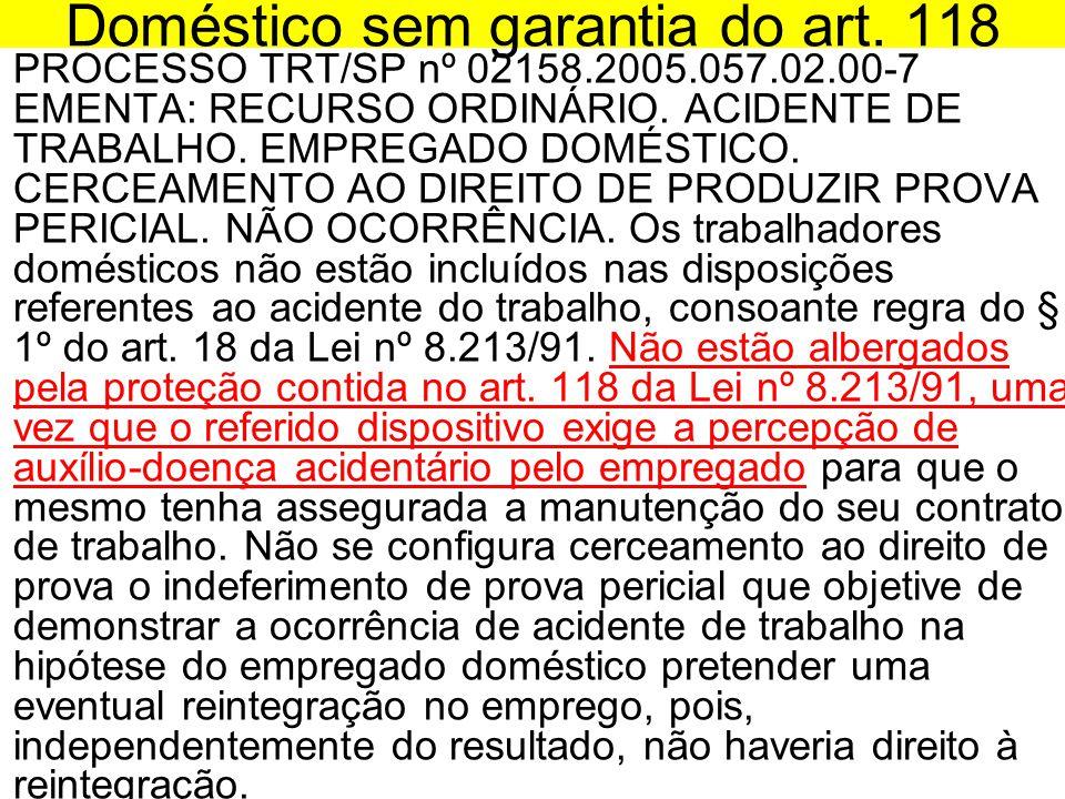 Doméstico sem garantia do art. 118