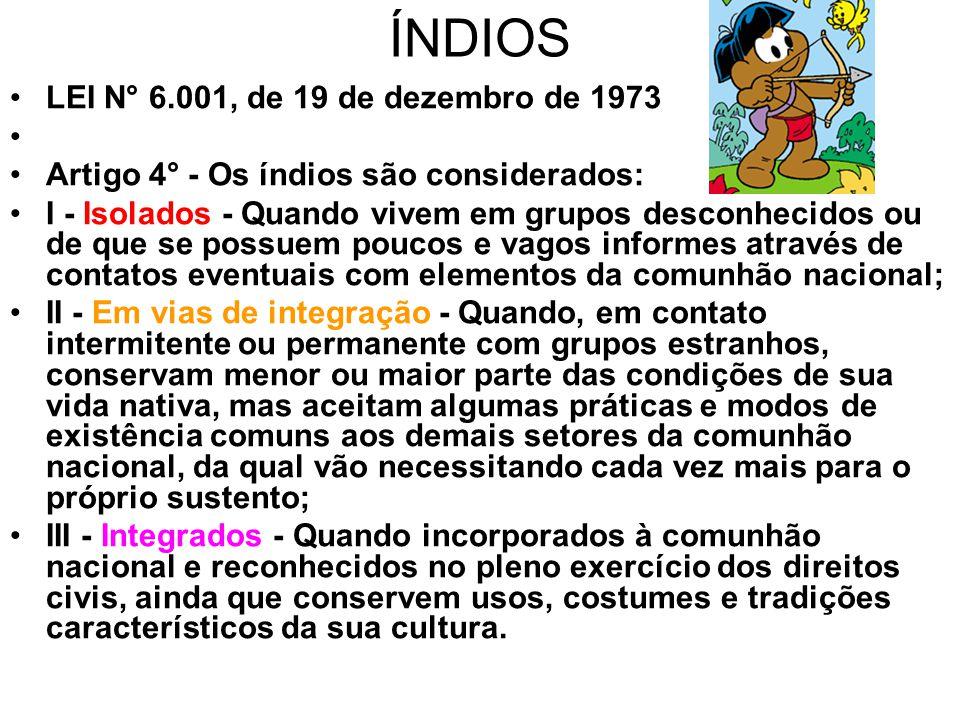 ÍNDIOS LEI N° 6.001, de 19 de dezembro de 1973