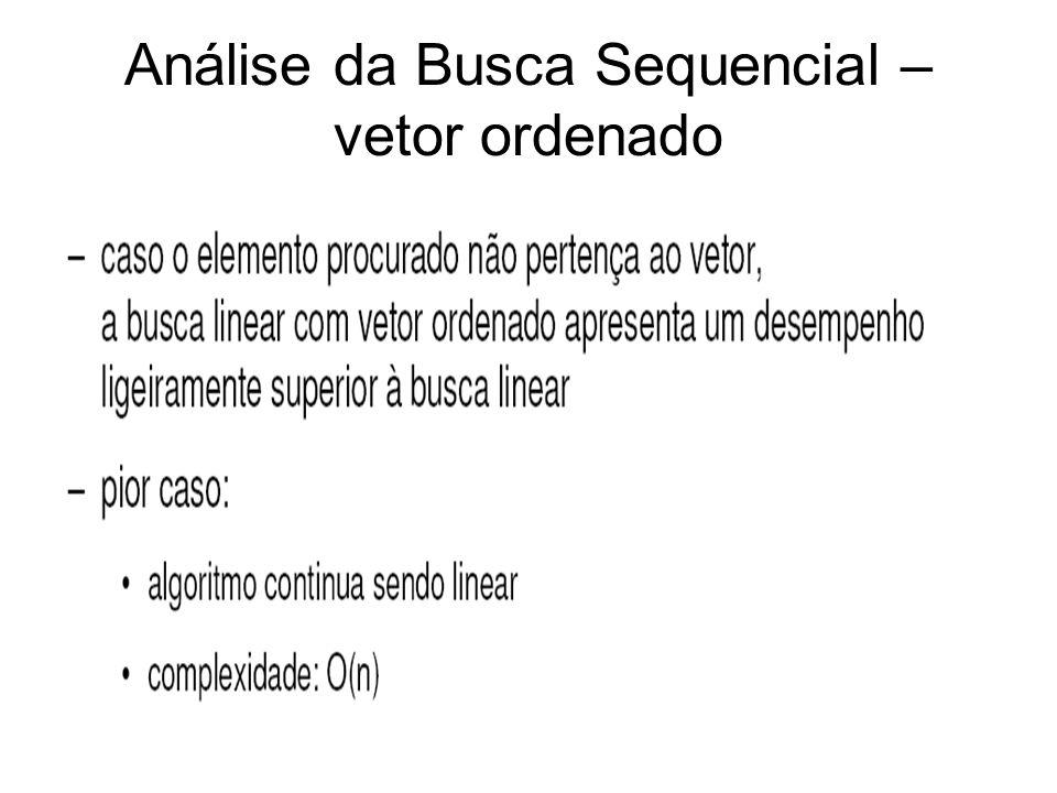 Análise da Busca Sequencial – vetor ordenado