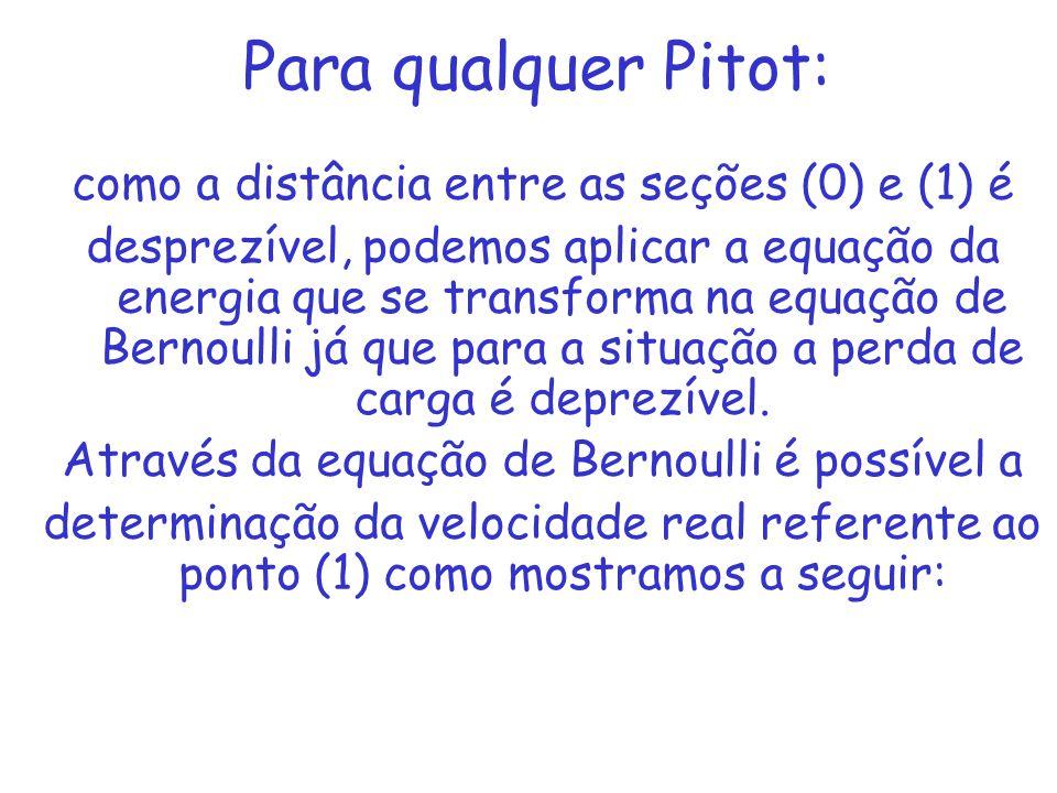 Para qualquer Pitot: como a distância entre as seções (0) e (1) é