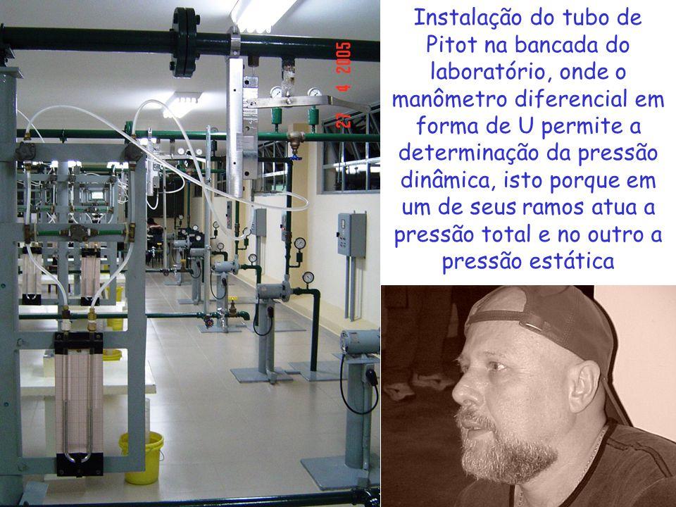 Instalação do tubo de Pitot na bancada do laboratório, onde o manômetro diferencial em forma de U permite a determinação da pressão dinâmica, isto porque em um de seus ramos atua a pressão total e no outro a pressão estática