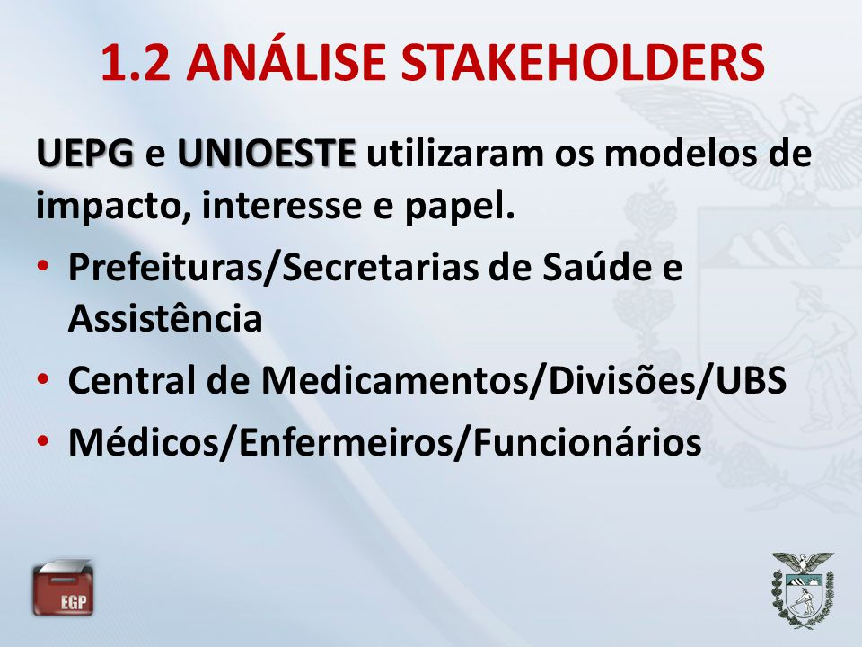 1.2 ANÁLISE STAKEHOLDERS UEPG e UNIOESTE utilizaram os modelos de impacto, interesse e papel. Prefeituras/Secretarias de Saúde e Assistência.