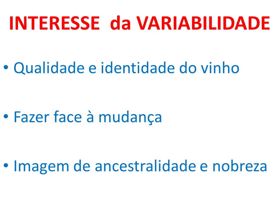 INTERESSE da VARIABILIDADE