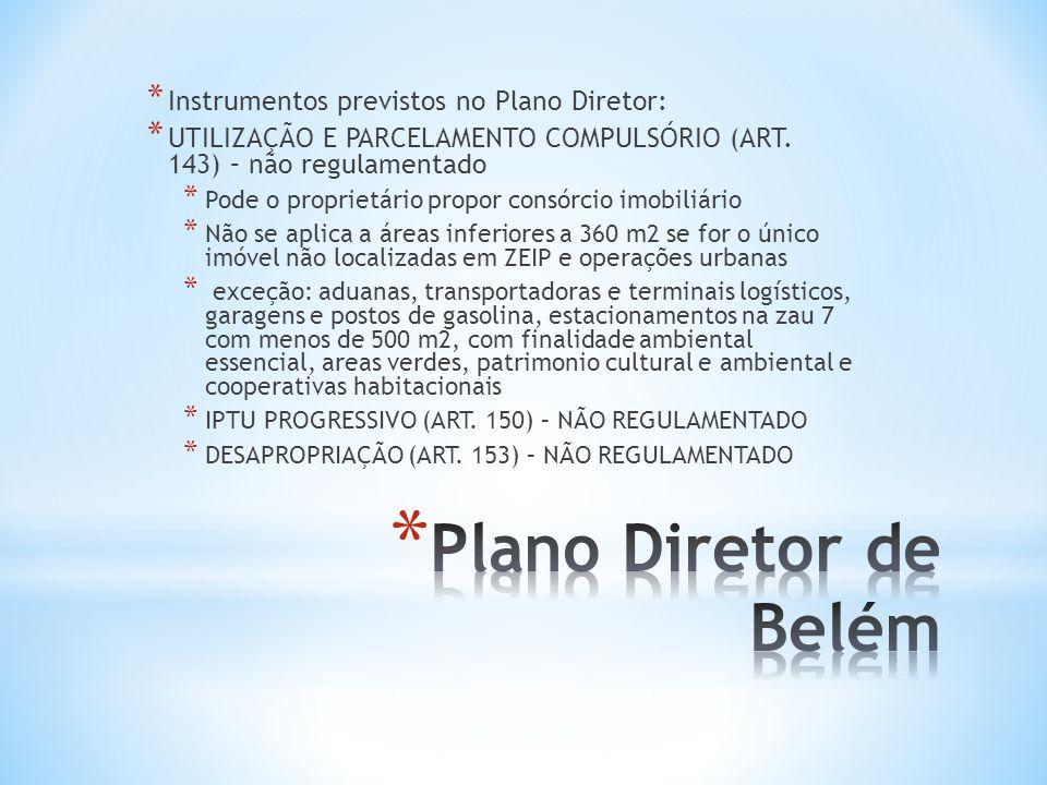 Plano Diretor de Belém Instrumentos previstos no Plano Diretor: