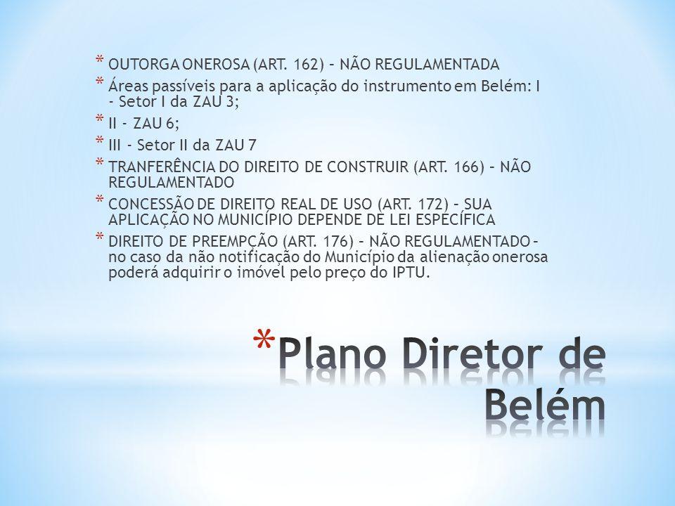 Plano Diretor de Belém OUTORGA ONEROSA (ART. 162) – NÃO REGULAMENTADA