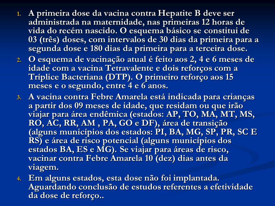 A primeira dose da vacina contra Hepatite B deve ser administrada na maternidade, nas primeiras 12 horas de vida do recém nascido. O esquema básico se constitui de 03 (três) doses, com intervalos de 30 dias da primeira para a segunda dose e 180 dias da primeira para a terceira dose.
