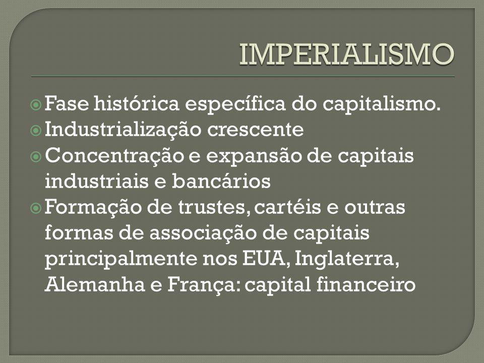 IMPERIALISMO Fase histórica específica do capitalismo.