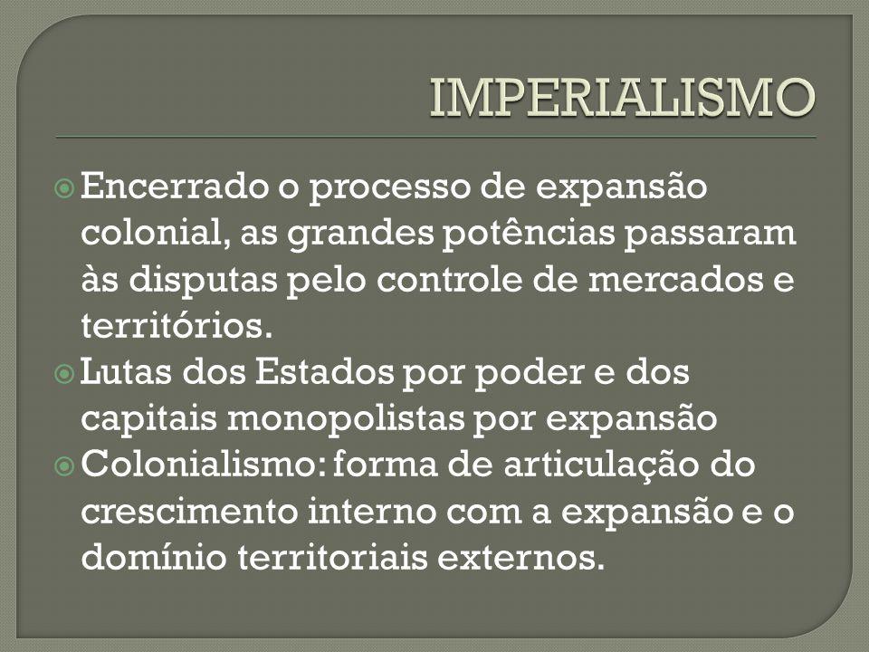 IMPERIALISMO Encerrado o processo de expansão colonial, as grandes potências passaram às disputas pelo controle de mercados e territórios.
