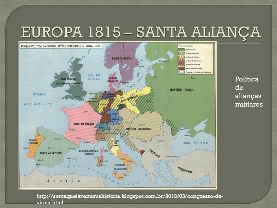 EUROPA 1815 – SANTA ALIANÇA Política de alianças militares