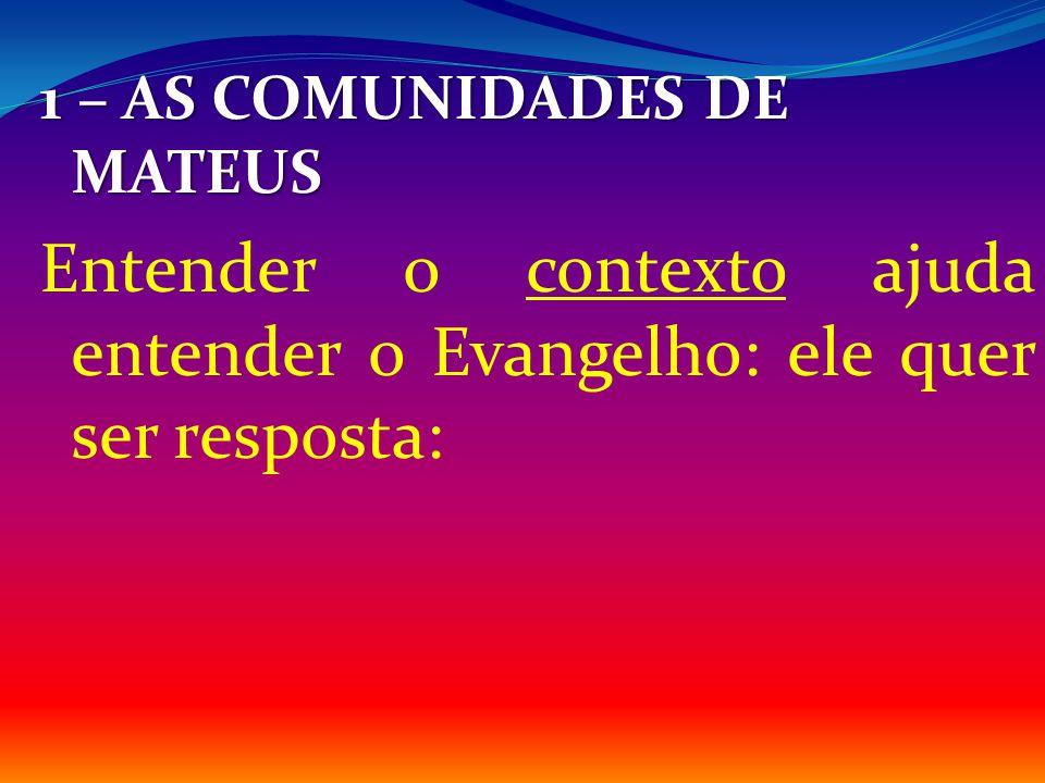 Entender o contexto ajuda entender o Evangelho: ele quer ser resposta: