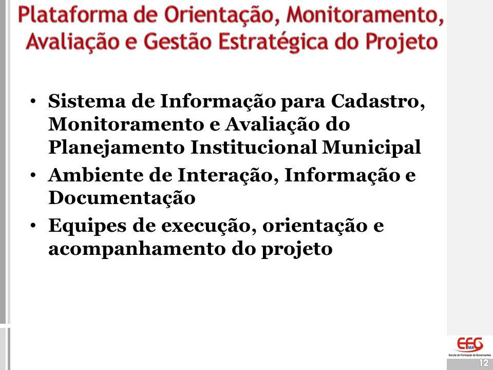 Plataforma de Orientação, Monitoramento, Avaliação e Gestão Estratégica do Projeto