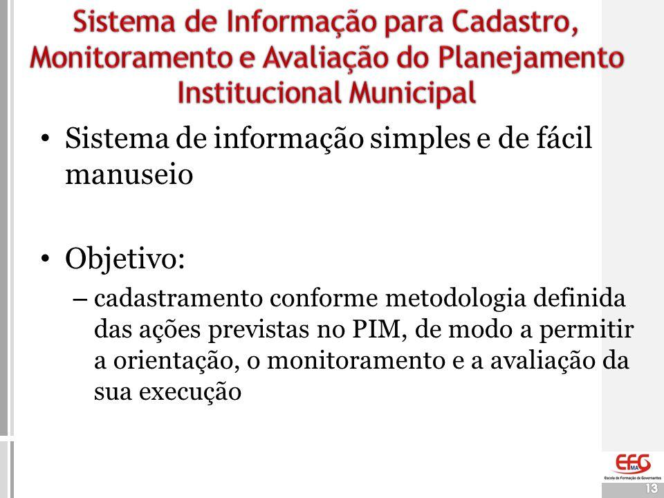 Sistema de informação simples e de fácil manuseio