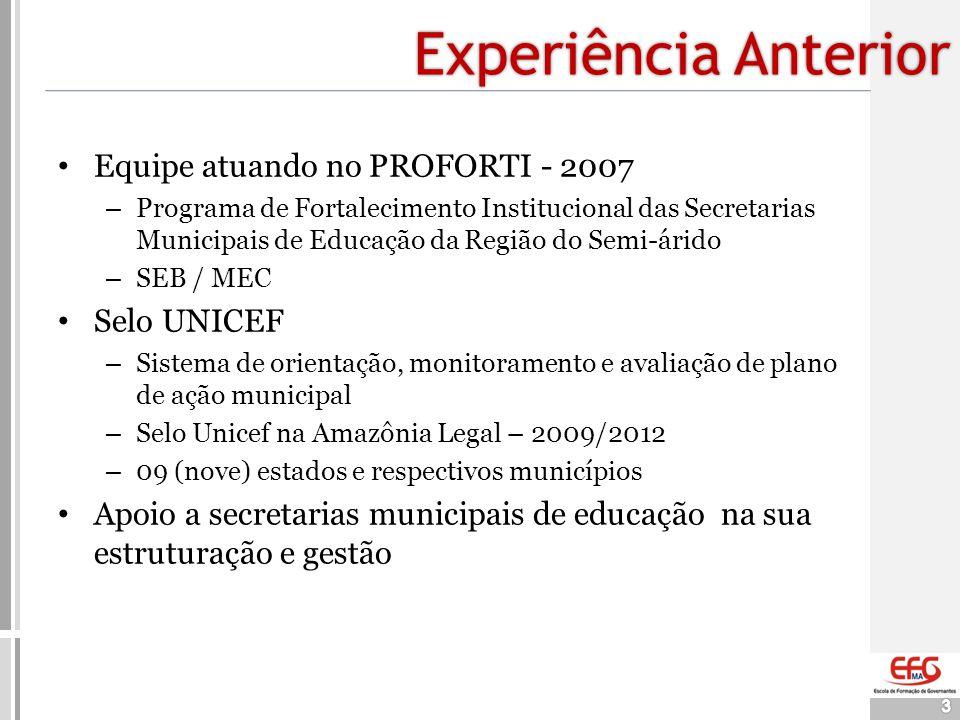 Experiência Anterior Equipe atuando no PROFORTI - 2007 Selo UNICEF