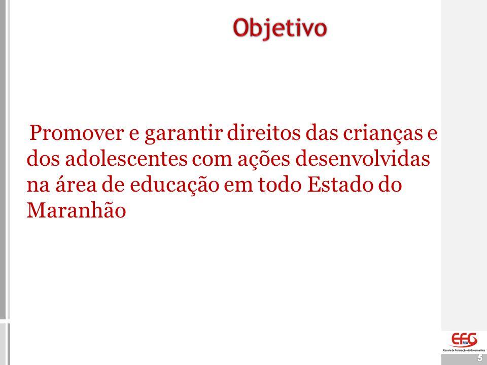 Objetivo Promover e garantir direitos das crianças e dos adolescentes com ações desenvolvidas na área de educação em todo Estado do Maranhão.