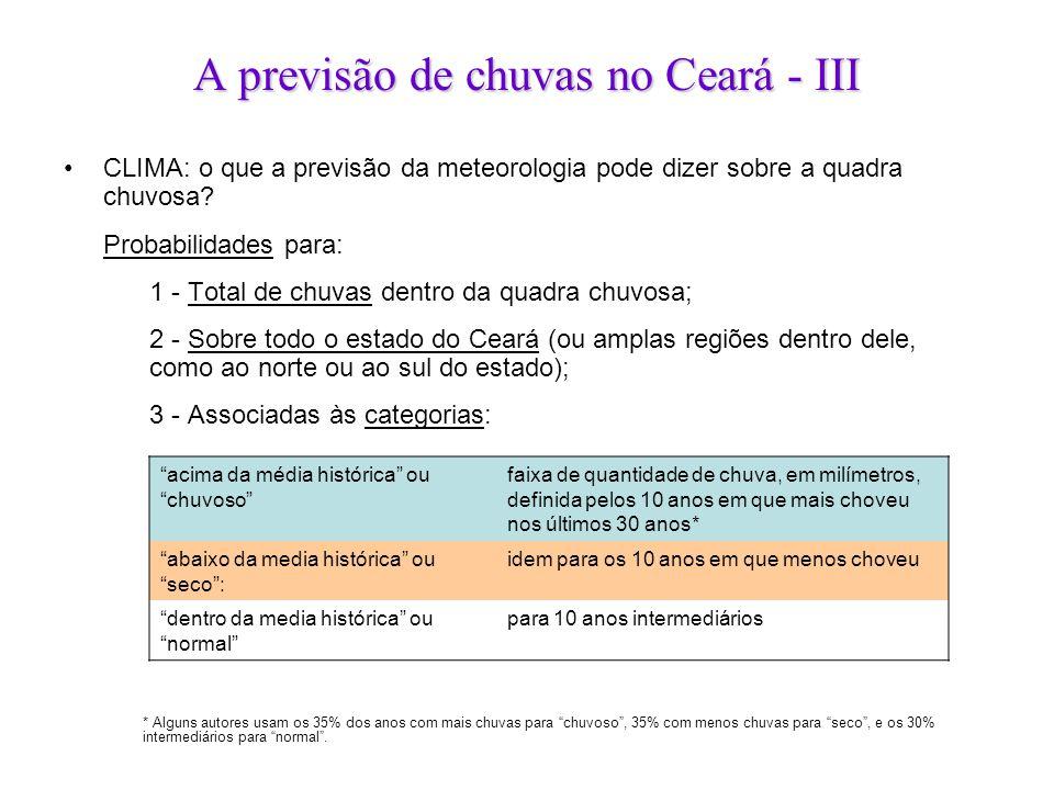 A previsão de chuvas no Ceará - III