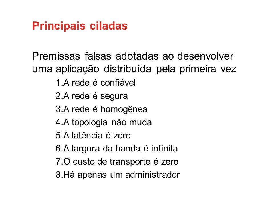 Principais ciladas Premissas falsas adotadas ao desenvolver uma aplicação distribuída pela primeira vez.