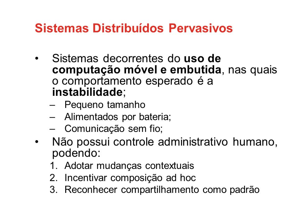 Sistemas Distribuídos Pervasivos