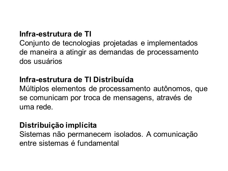 Infra-estrutura de TI Conjunto de tecnologias projetadas e implementados de maneira a atingir as demandas de processamento dos usuários Infra-estrutura de TI Distribuída Múltiplos elementos de processamento autônomos, que se comunicam por troca de mensagens, através de uma rede.