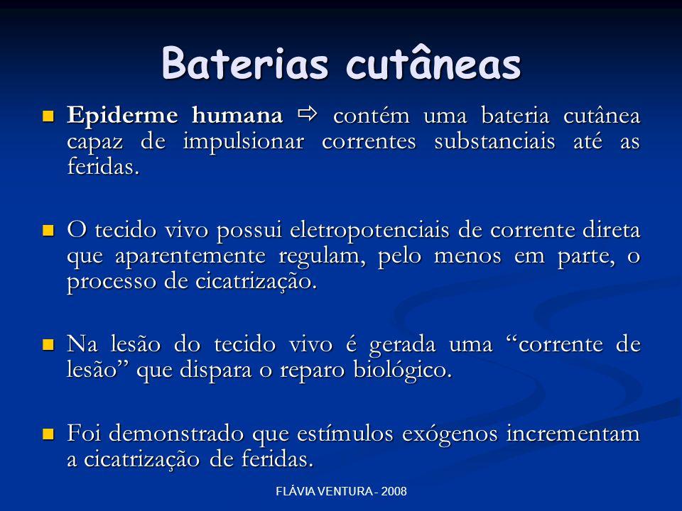 Baterias cutâneas Epiderme humana  contém uma bateria cutânea capaz de impulsionar correntes substanciais até as feridas.
