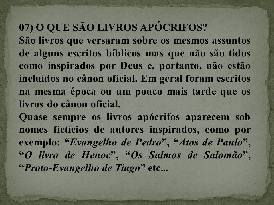 07) O QUE SÃO LIVROS APÓCRIFOS