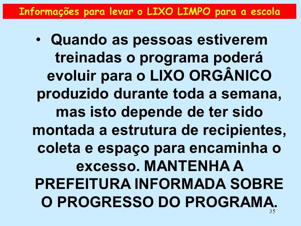 Informações para levar o LIXO LIMPO para a escola