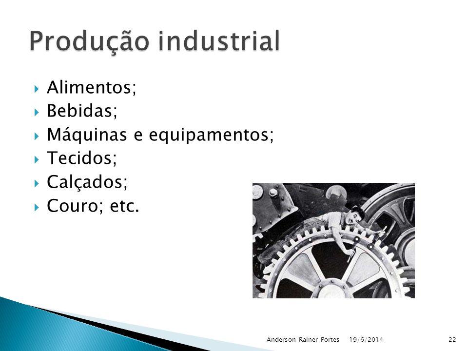 Produção industrial Alimentos; Bebidas; Máquinas e equipamentos;