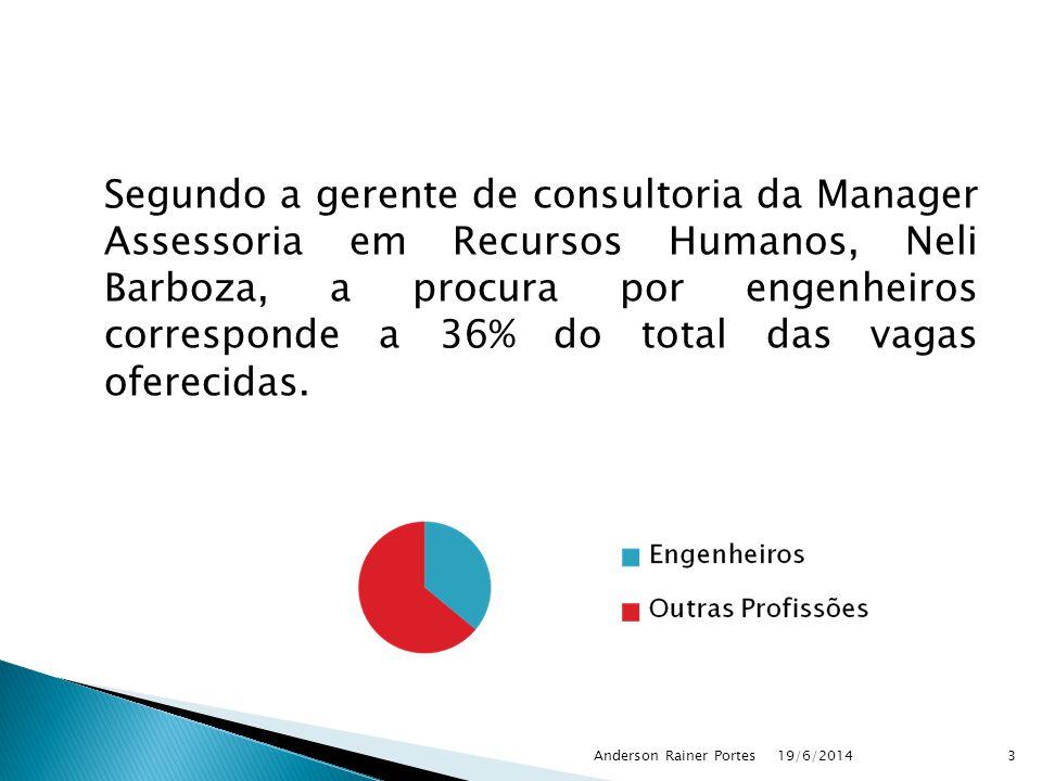 Segundo a gerente de consultoria da Manager Assessoria em Recursos Humanos, Neli Barboza, a procura por engenheiros corresponde a 36% do total das vagas oferecidas.