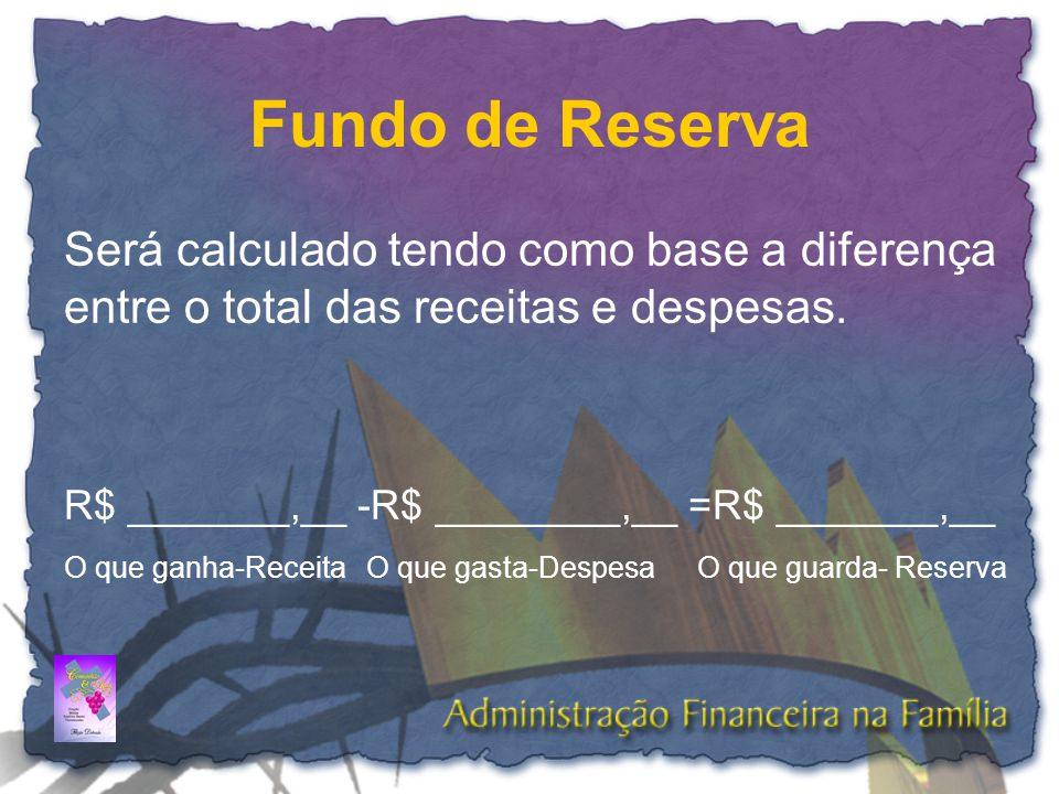 Fundo de Reserva Será calculado tendo como base a diferença entre o total das receitas e despesas. R$ _______,__ -R$ ________,__ =R$ _______,__.