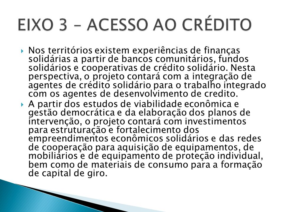 EIXO 3 – ACESSO AO CRÉDITO