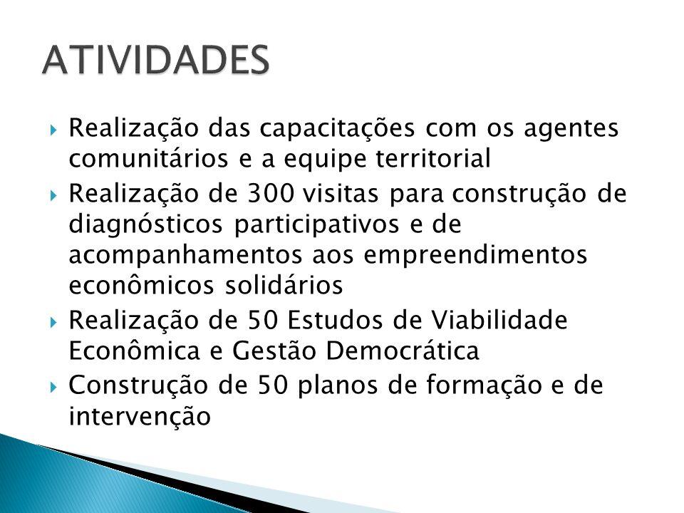 ATIVIDADES Realização das capacitações com os agentes comunitários e a equipe territorial.