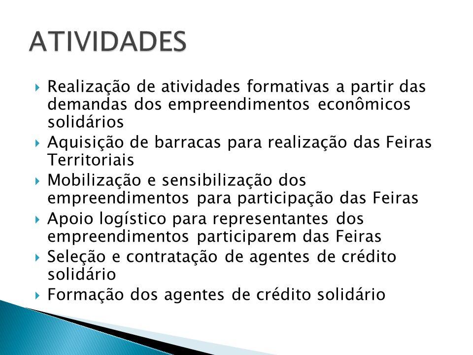 ATIVIDADES Realização de atividades formativas a partir das demandas dos empreendimentos econômicos solidários.