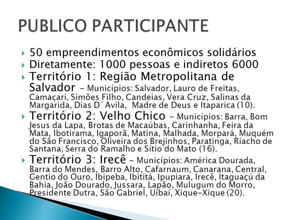 PUBLICO PARTICIPANTE 50 empreendimentos econômicos solidários. Diretamente: 1000 pessoas e indiretos 6000.