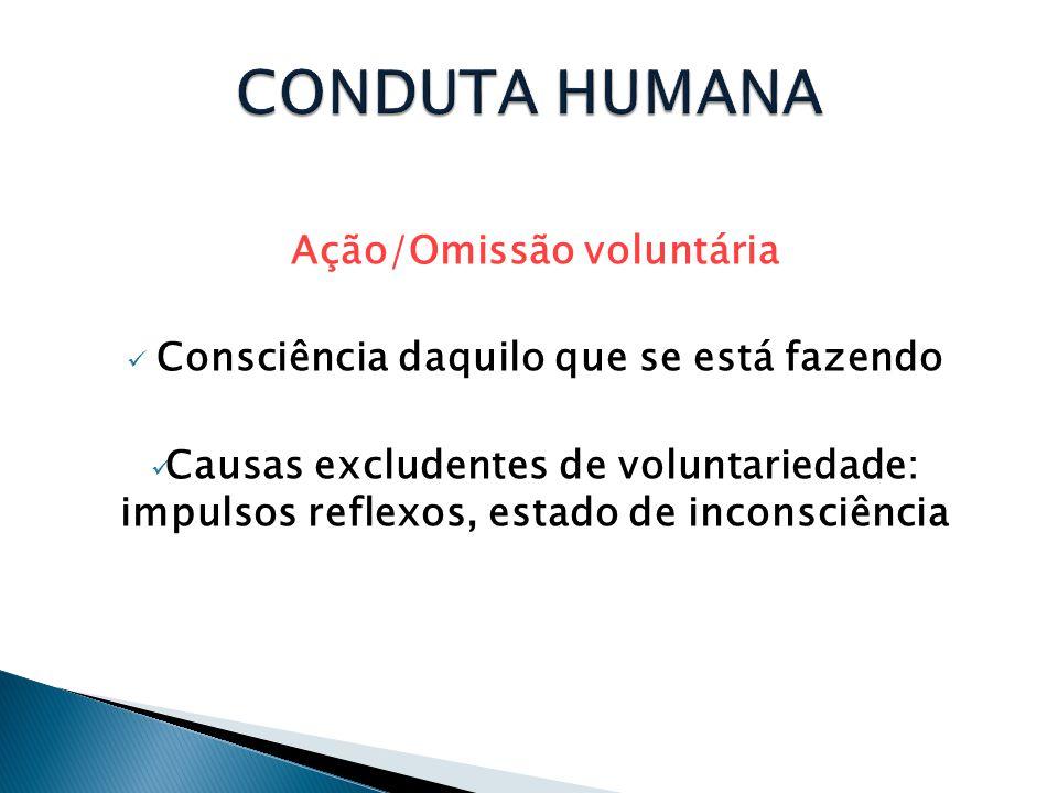 Ação/Omissão voluntária Consciência daquilo que se está fazendo