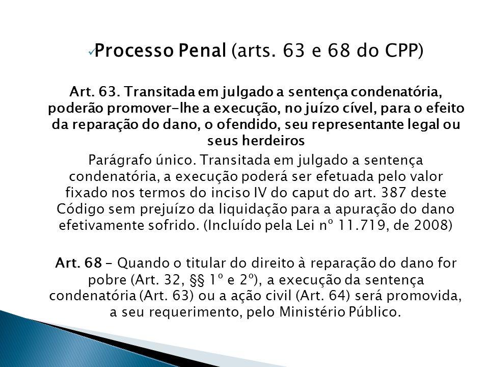 Processo Penal (arts. 63 e 68 do CPP)