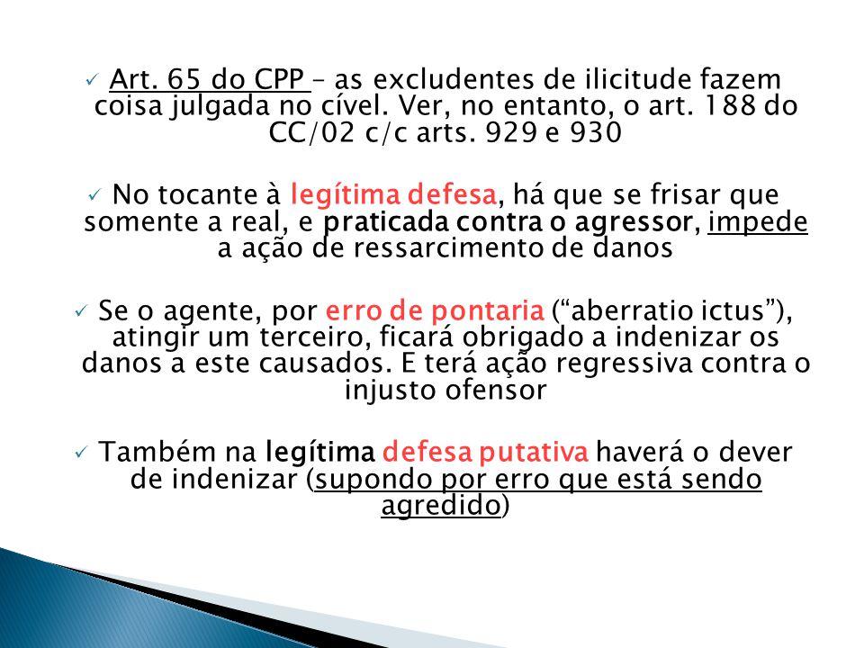 Art. 65 do CPP – as excludentes de ilicitude fazem coisa julgada no cível. Ver, no entanto, o art. 188 do CC/02 c/c arts. 929 e 930