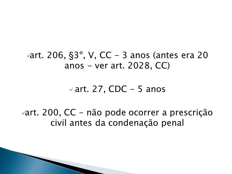 art. 206, §3º, V, CC - 3 anos (antes era 20 anos - ver art. 2028, CC)