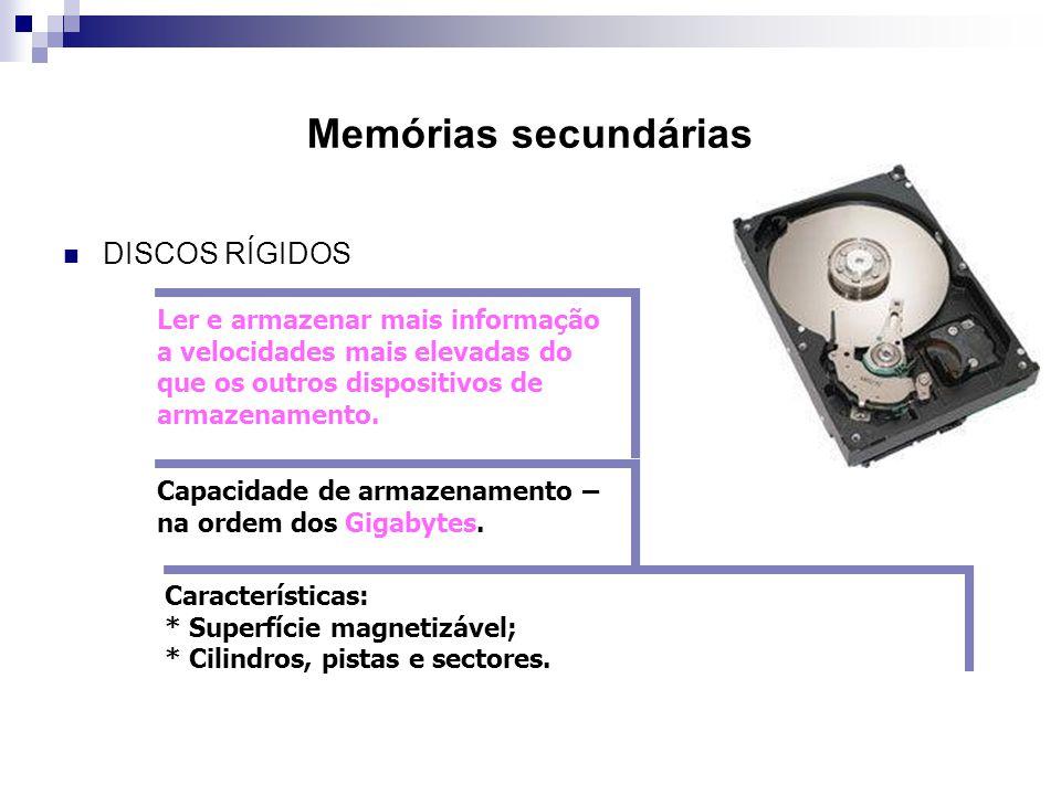 Memórias secundárias DISCOS RÍGIDOS