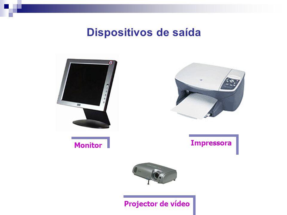 Dispositivos de saída Impressora Monitor Projector de vídeo